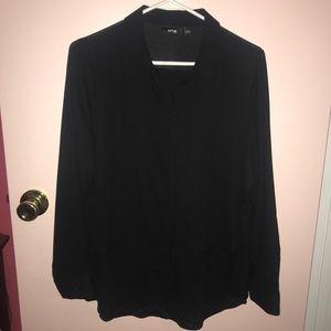 Black Chiffon Button Up Shirt!
